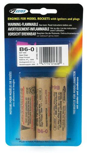 B6-0 Model Rocket Engines Pack of 3 Estes 1608