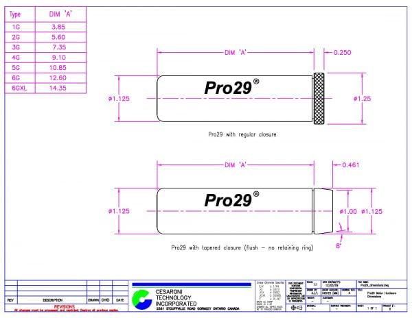 Pro29 Hardware Dimensions