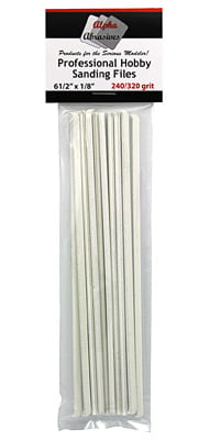 Hobby Sanding Files 6 1/2 x 1/8 Inches Fine 240 320 Grit ALB-307