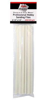 Hobby Sanding Files 6 1/2 x 1/4 Inches Fine 240 320 Grit ALB-310