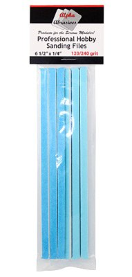 Hobby Sanding Files Size 6 1/2 X 1/4 Inches Medium 120 240 Grit ALB-309