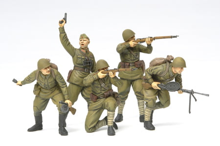 Russian Assault Infantry 1941 to 1942 Set of 5 Kit 35 Scale Tamiya 35311