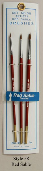 Atlas 3 Piece Red Sable and Camel Hair Brush Set 1 3 5 detail