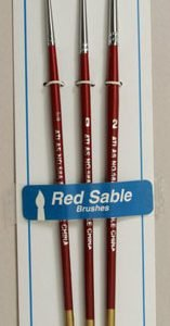 Atlas 3 Piece Red Sable Brush Set 5-0 0 2 detail