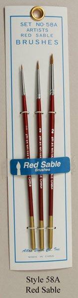 Atlas 3 Piece Red Sable Brush Set 5-0 0 2 detail