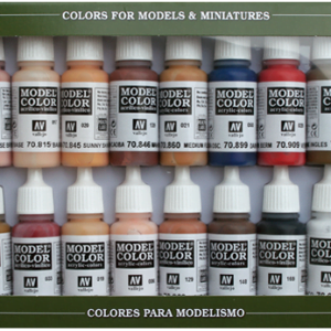 Face and Skin Tones Paint Set of 16 Vallejo 70125