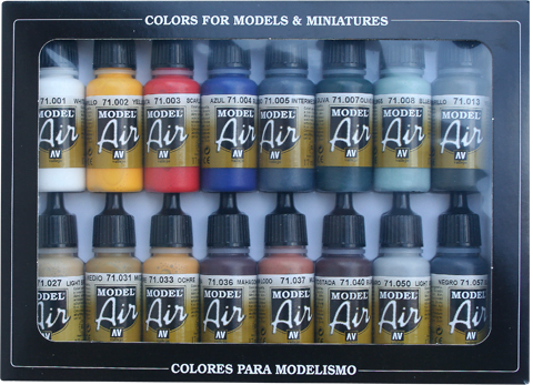 Basic Colors Colours Model air Paint Set of 16 Vallejo 71178