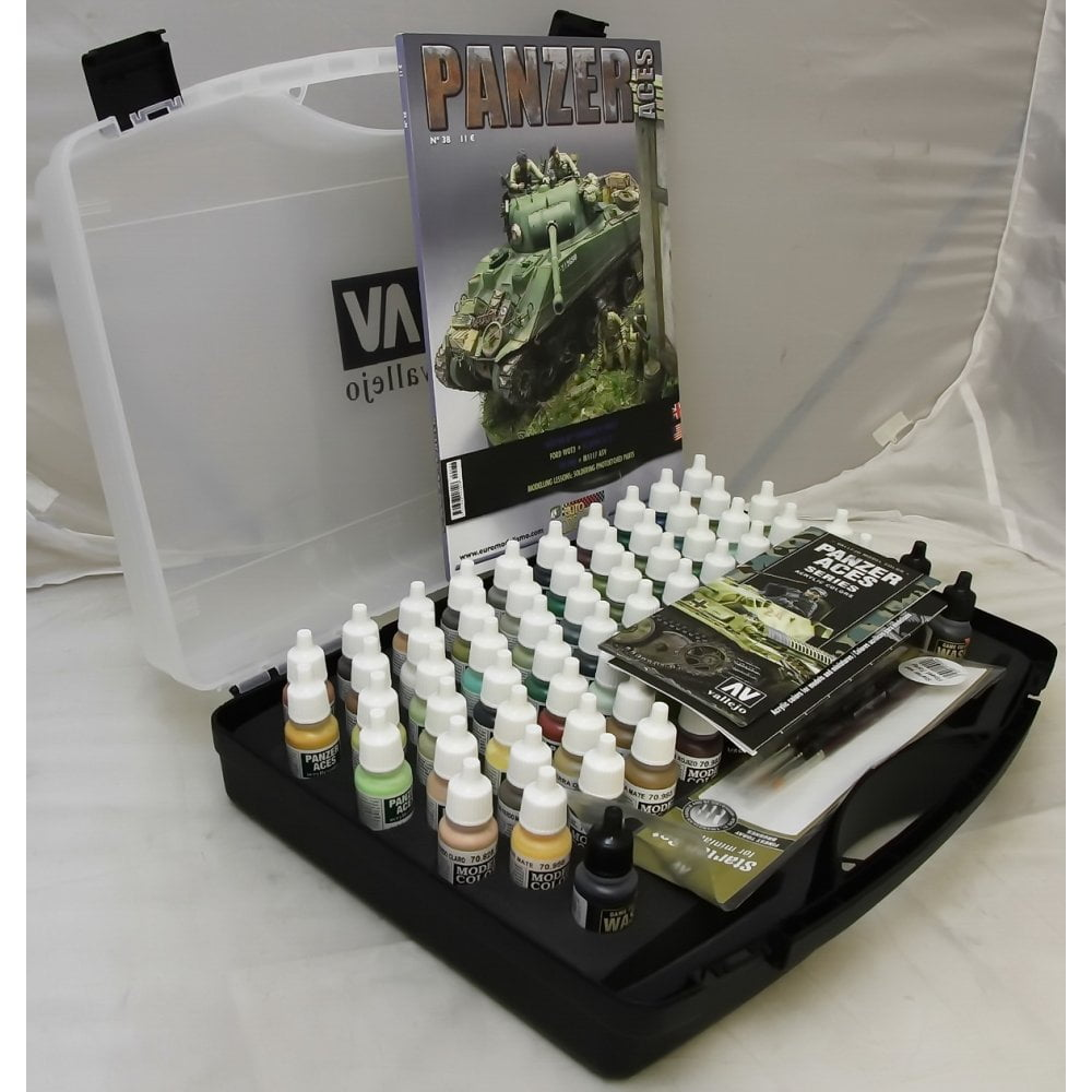 Panzer Aces Acrylic Paint Set Of 72 And 3 Brushes By