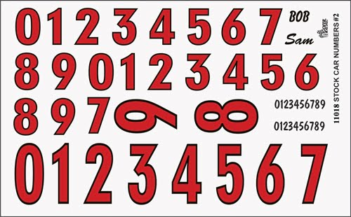 Gofer Racing Model Car Decal Number Sheet In Red With Black Trim 11018