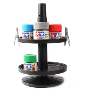 Bottled Paint Jar Stand with Alligator Clips by Tamiya 74077 in use