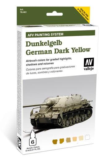 AFV Dunkelgelb German Dark Yellow Set of 6 by Vallejo 78401