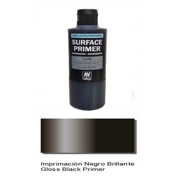 200ml Gloss Black Primer by Vallejo 74660