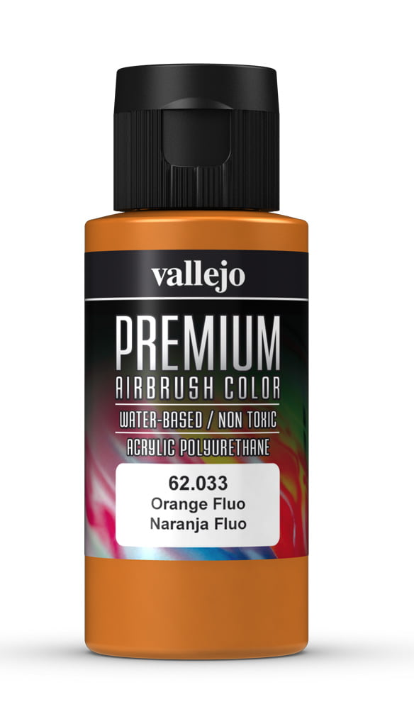 Orange Fluorescent Premium Airbrush Colour by Vallejo 62033 60ml