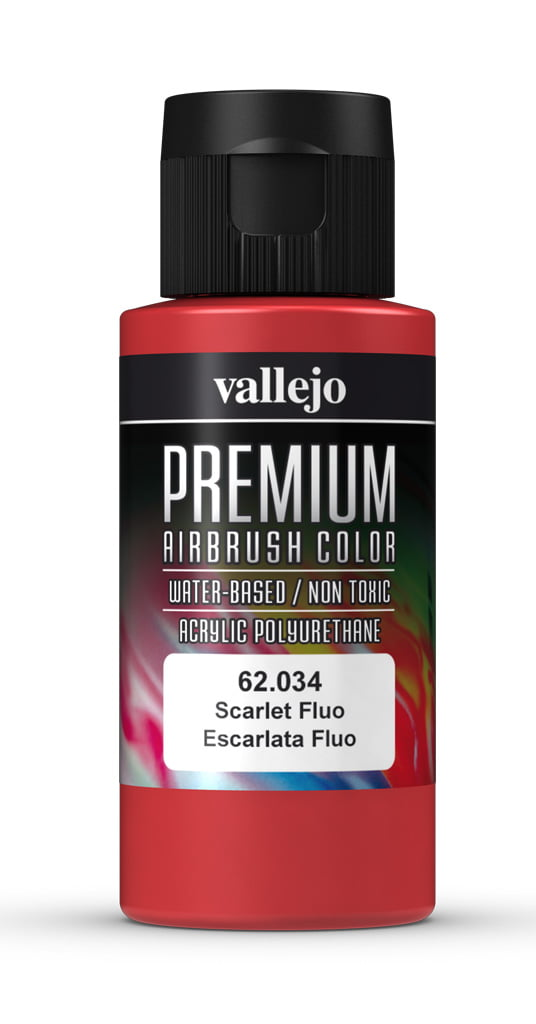 Scarlet Fluorescent Premium Airbrush Colour by Vallejo 62034 60ml