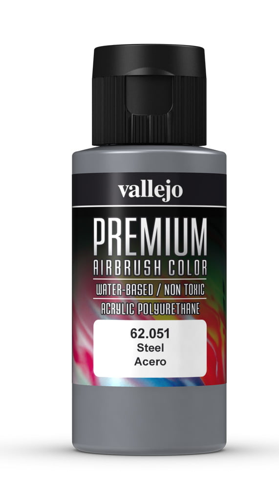 Steel Premium Airbrush Colour by Vallejo 62051 60ml