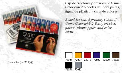 Vallejo Intro Game Color Set Brushes 8 Colours Palette Figure 72108