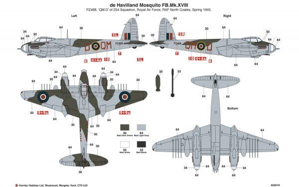 Markings B Airfix De Havilland Mosquito MkII VI XVIII 1:72 Scale A03019