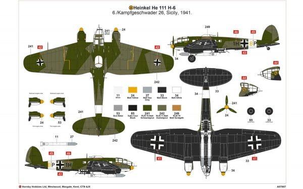 Layout Airfix Heinkel He III H-6 1:72 Scale A07007
