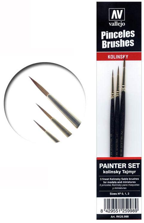 Vallejo Painters Brush Set Tajmyr Kolinsky Sable 0 1 2 25998