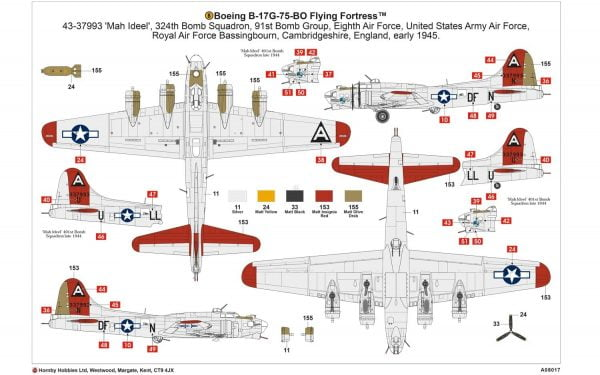Layout a Boeing B-17G Flying Fortress 1:72 A08017