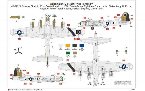 Layout D Boeing B-17G Flying Fortress 1:72 A08017