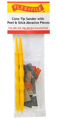 Cone Tip Sanders with Peel and Stick Abrasive Pieces Assorted Grit by Alpha Abra