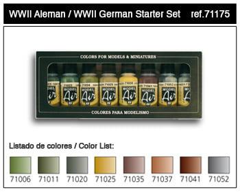 Vallejo WWII German Model Air Paint Set 71175