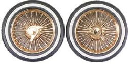 Dzs Gold Rims with Whitewall Tires Set of 4 PGH 1111