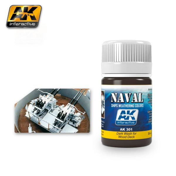 Dark Wash for Wood Deck Naval Weathering by AK Interactive AKI 301