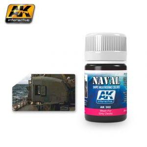 Wash for Grey Decks Naval Weathering by AK Interactive AKI 302