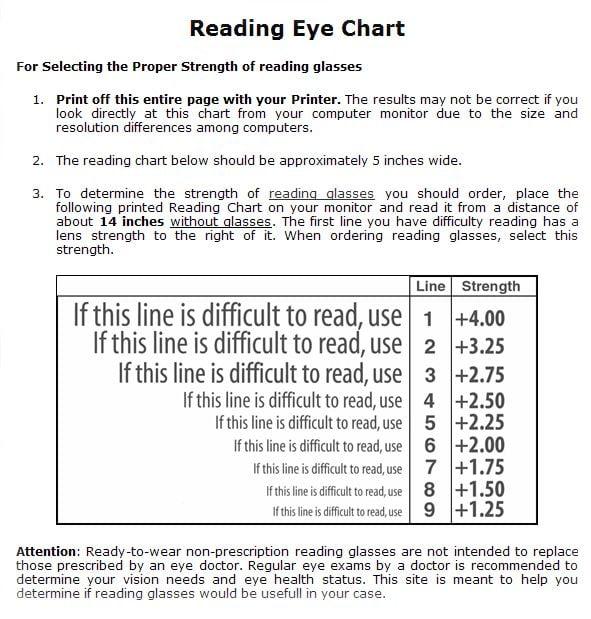 Reading Eye Chart