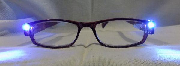 LED on LED Reading Glasses Eyeglasses Black Strength 2.00 Brown