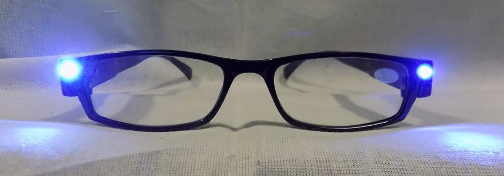 LED on LED Reading Glasses Eyeglasses Black Strength 3.00 Black