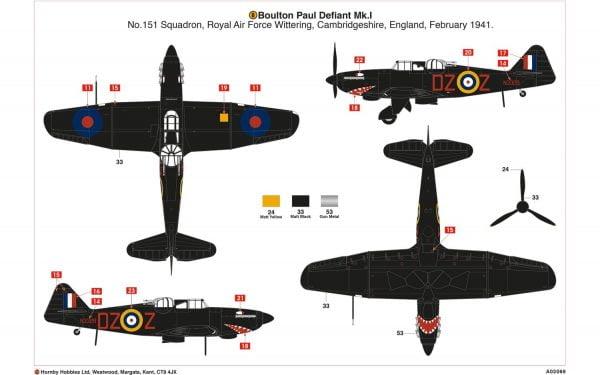 Layout 2 Airfix Boulton Paul Defiant Mk.1 1-72 A02069