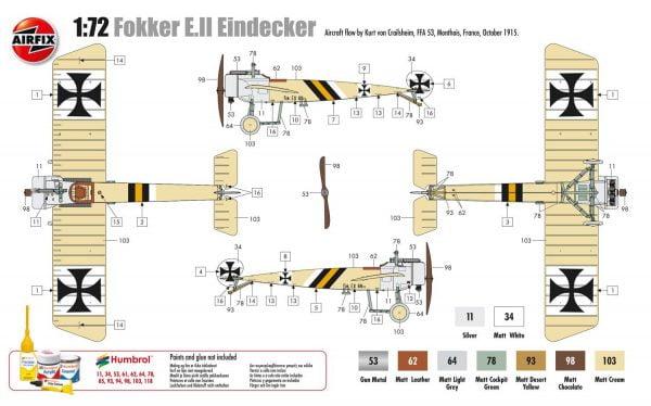 Layout b Airfix Fokker EII late Eindecker 1-72 A01086