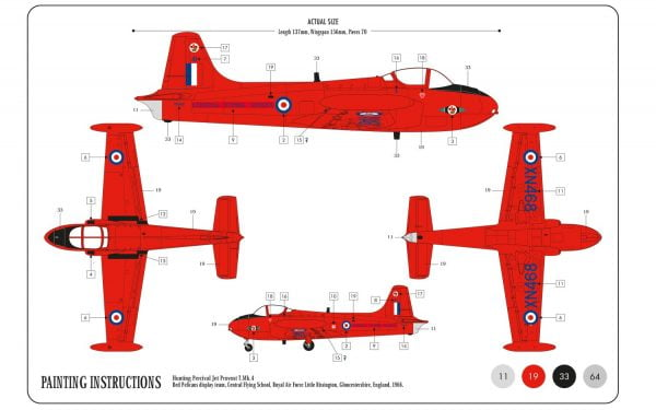 Layout B Airfix Hunting Percival Jet Provost T-4 Starter Set 1-72 A55116