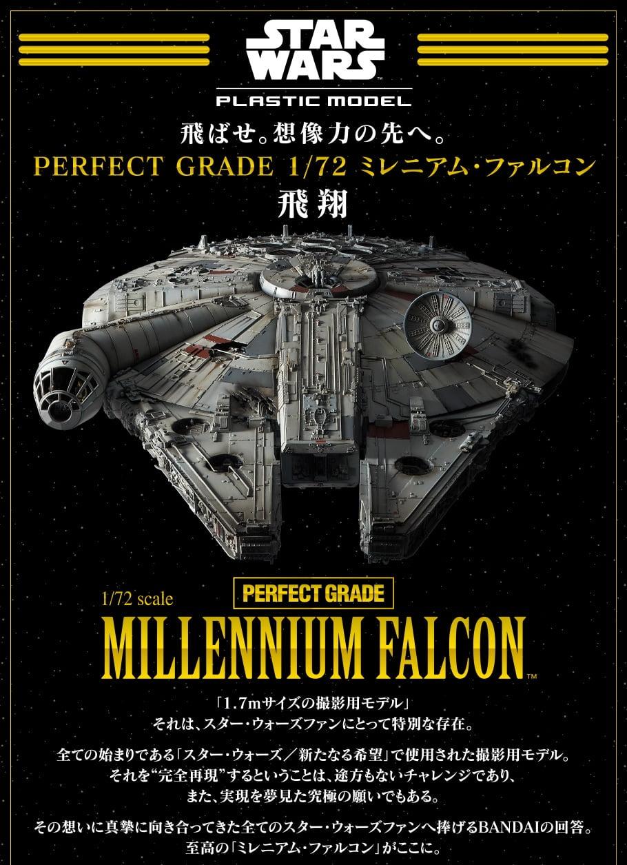BANDAI STAR WARS KIT Perfect Grade MILLENNIUM FALCON 1-72 Scale BAN 216384