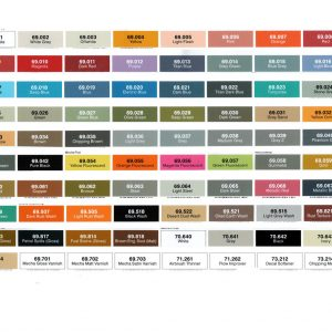 Vallejo Mecha Colors Acrylic Paint Chart