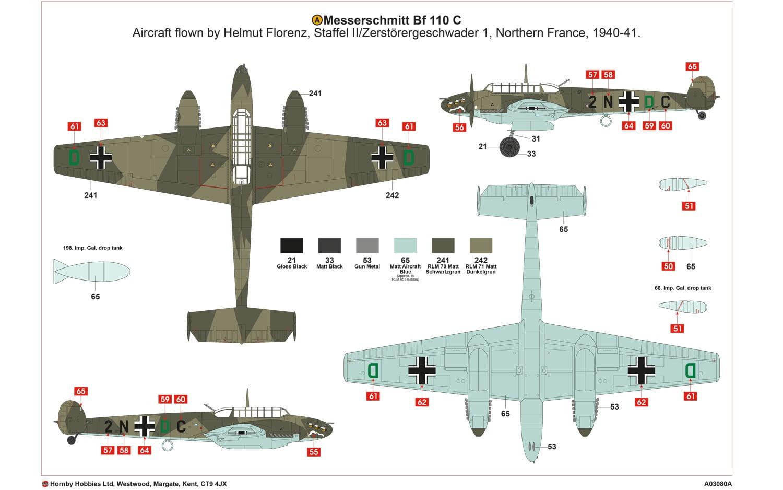Airfix Messerschmitt Bf110c D 1 72 A03080 Online
