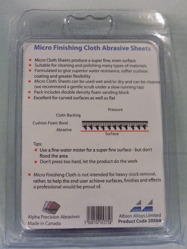 Back Alpha Abrasives Micro Finishing Cloth Abrasive Sheets 9 Sheet Pack 2050A