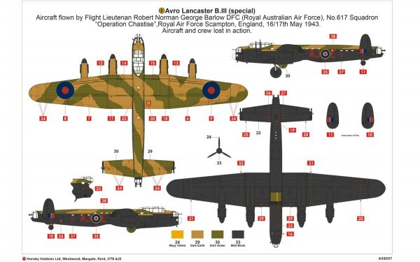 b layout Airfix Avro Lancaster B.III Special The Dambusters 1:72 A09007