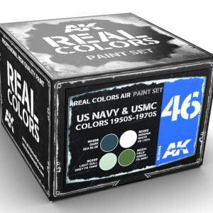 AK Interactive US Navy and USMC Colors 1950s-1970s Paint Set RCS046
