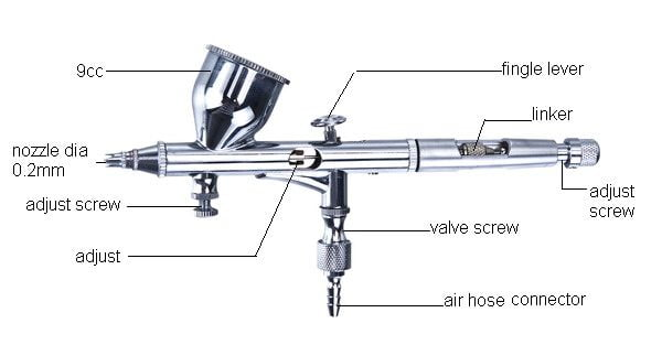 Vigiart HS-80 Dual Action Gravity Feed Airbrush details