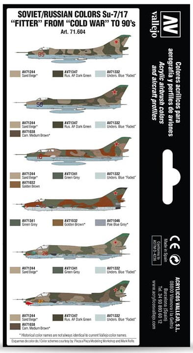 Vallejo Soviet Russian Colors Su-7 17 Fitter from Cold War to 90s 71604