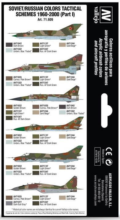 Back Vallejo Soviet Russian Colors Tactical Schemes 1960-2000 Part I 71609
