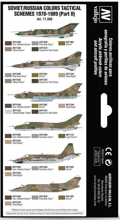 Back Vallejo Soviet Russian Colors Tactical Schemes 1978-1989 Part II 71608