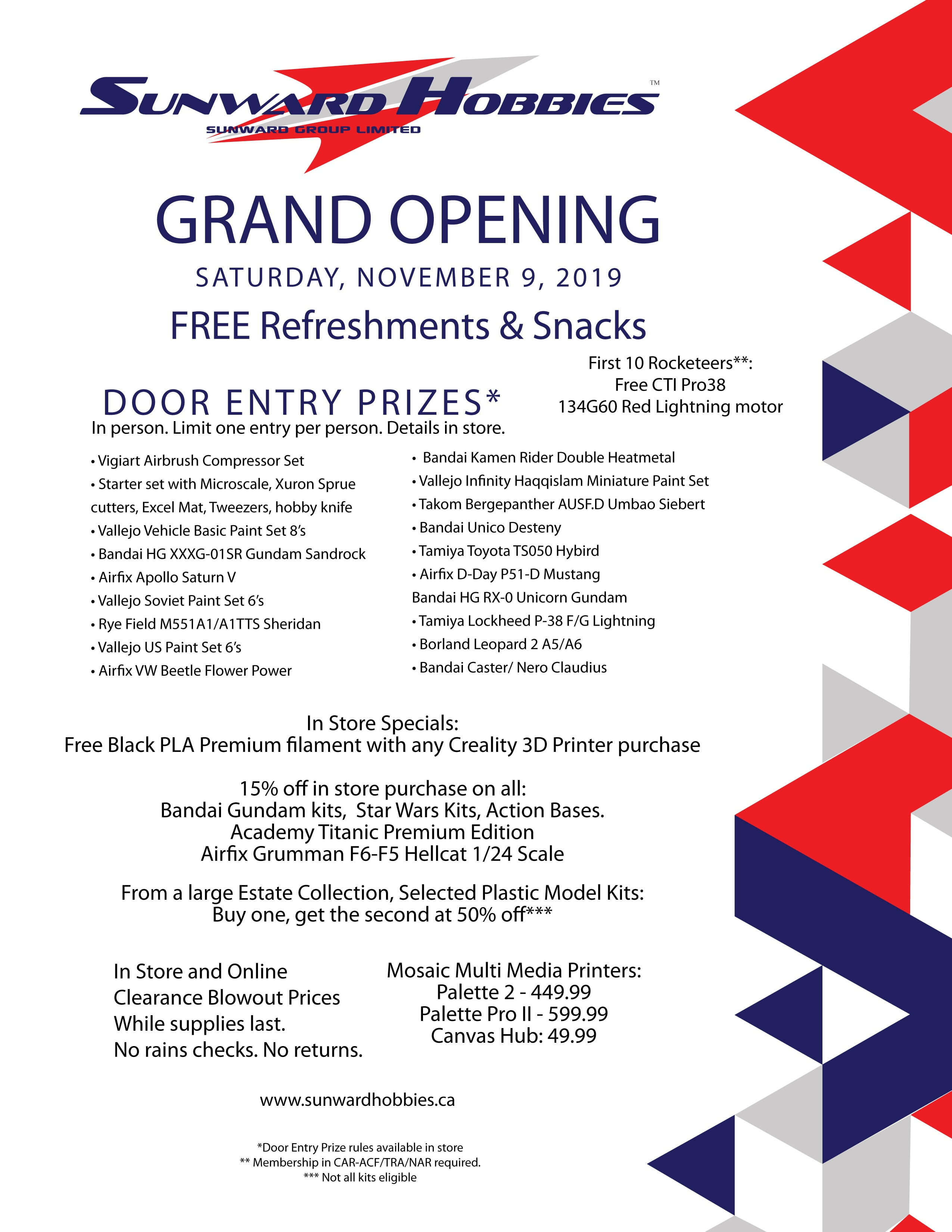Sunward Official Grand Opening Saturday November 9 2019
