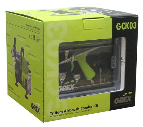 box Grex GCK03 Airbrush Combo Kit with Tritium.TG3 AC1810-A Compressor Accessories