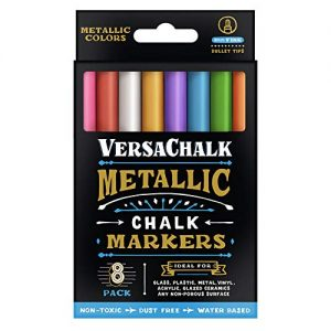 Versachalk Metallic Colored Markers 8 Pack 3mm Fine Tip VC129-F