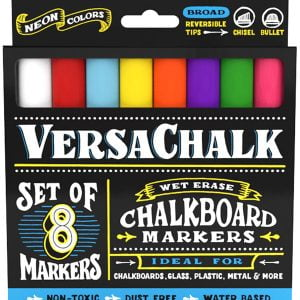 Versachalk Chalk Markers 8 Neon Colored Markers 5mm Bold Tip VC102-B